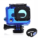 Skeleton Protective Housing with Lens for Gopro hero 3 Open Side for FPV without cable(color blue)