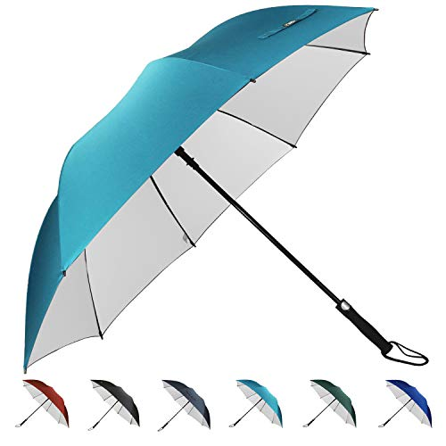 G4Free 62 Inch Automatic Open Golf Umbrella Sun Protection Large Oversize Windproof Waterproof Stick Umbrellas(Sky Blue)