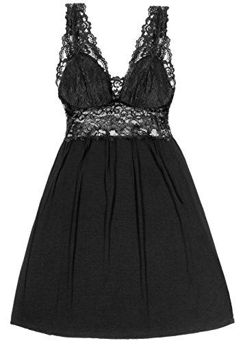 Amazing Deal Nightgown for Women - Sexy Lace Lingerie Nightshirt Black ()