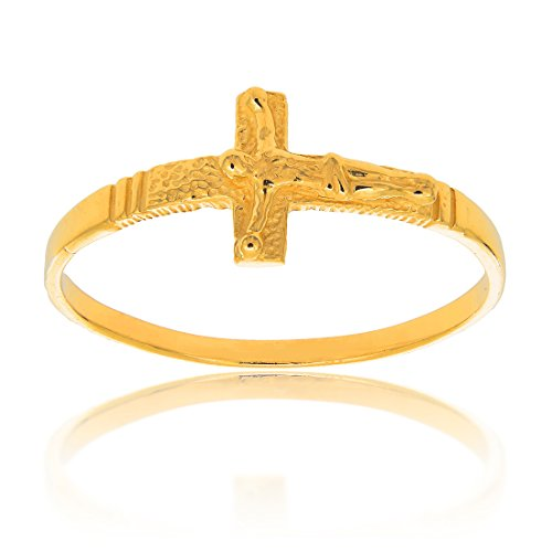 (JewelStop 14k Solid Yellow Gold Baby Children's Sideways Cross Crucifix Ring, Size 4)