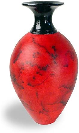 Modern Artisans American Handmade Horsehair Pottery Decorative Vase in Red, Classic Design