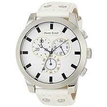 Marc Ecko Men's E14539G3 White Leather Quartz Watch with White Dial