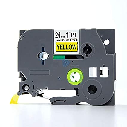"""1PK TZe-S651 TZ-S651 Strong Adhesive Label for Brother 1/"""" 24mm Black on Yellow"""