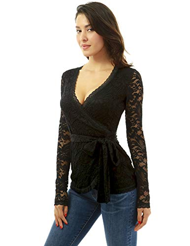 PattyBoutik Women Floral Lace Long Sleeve Wrap Blouse (Black X-Small) ()