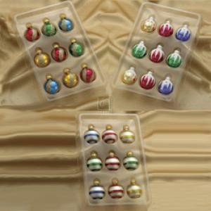 Glass Multi-color Miniature Decorated Ball Ornaments Set OF 27