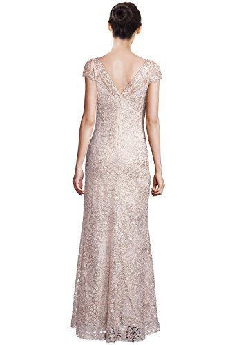 Tadashi Shoji Corded Lace Embellished Cap Sleeve Evening Gown Dress