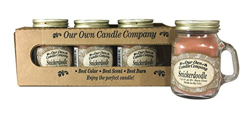 Our Own Candle Company Snickerdoodle Scented Mini Mason Jar Candle by, 3.5 Ounce (4 Pack)