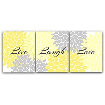 Etonnant Home Decor Wall Art, Live Laugh Love, Yellow Wall Art, Flower Burst Bathroom