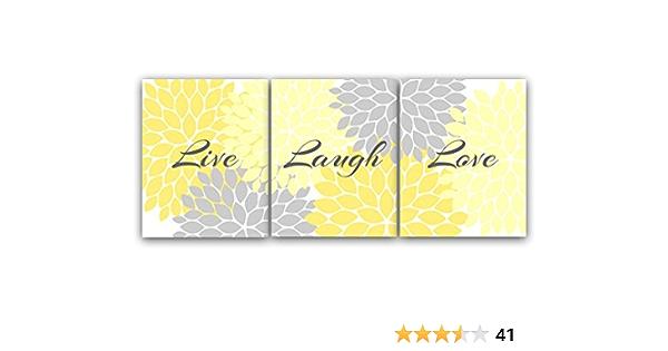 Amazon Com Home Decor Wall Art Live Laugh Love Yellow Wall Art Flower Burst Bathroom Wall Decor Yellow And Grey Bedroom Wall Art Home54 Posters Prints