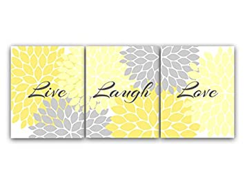 Superbe Home Decor Wall Art, Live Laugh Love, Yellow Wall Art, Flower Burst