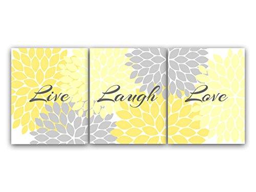 Home Decor Wall Art, Live Laugh Love, Yellow Wall Art, Flower Burst Bathroom Wall Decor, Yellow and Grey Bedroom Wall Art - (Yellow And Grey Wall Decor)