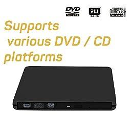 Slim Portable USB 3.0 DVD Rewriter DVD Burner External DVD Drive CD+/-RW DVD +/-RW Supports Windows and Mac OS (Black)