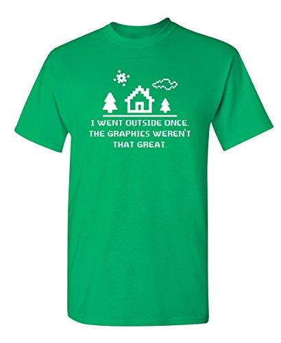I Went Outside Once The Graphics Funny Novelty Computer T-Shirt S Irish (Green Love Boys Irish)