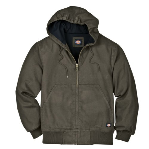 Dickies Men's Light Weight Sanded Duck Thermal Lined Hooded Jacket, Black Olive, Large/Regular ()