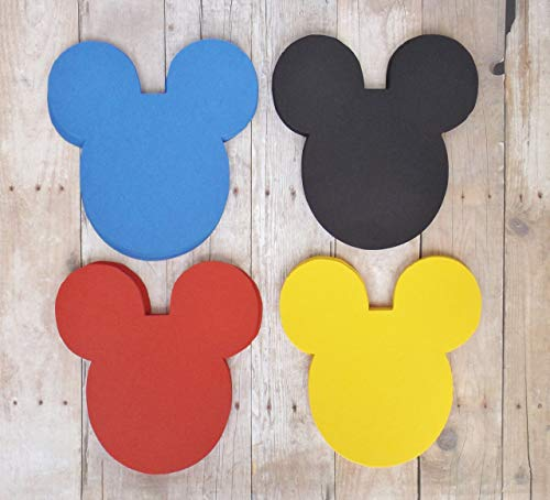 (Mickey Mouse Head Die Cut Place Card Labels in Black Red Blue Yellow 20 Pieces)