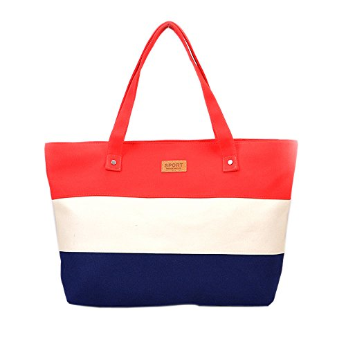 2018 Fashion Ladies Hand Canvas Big Beach Shoulder Women Messenger Tote Bags Female Handbags Famous Brand Sac A Main Femme De Marque Pochette (Color Red)