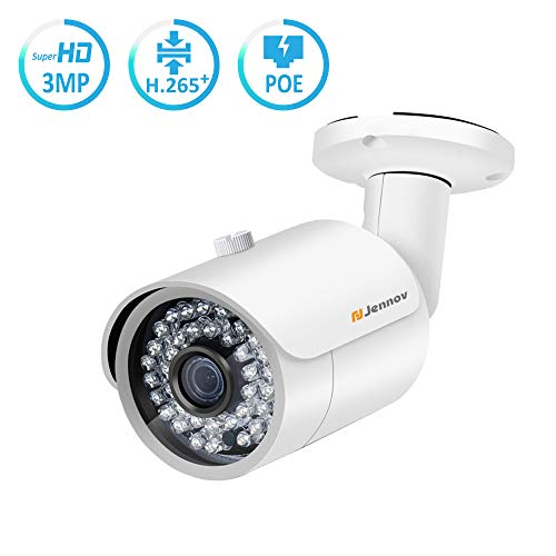 [Upgrade] Jennov PoE Security Camera 3 Megapixels HD Bullet Outdoor Indoor Weatherproof IP Surveillance Camera IR Night Vision Motion Detection Remote View Free App H.264+ Video