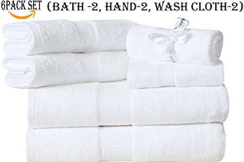 MAHI HOME Set of 6 Piece Terry Towel, 100% Ring Spun Combed Cotton, Heavy Weight & Highly Absorbent, Ultra Soft Hotel & Spa Quality - 2 Bath Towels, 2 Hand Towels, 2 Wash Cloths– White by MAHI HOME (Image #1)