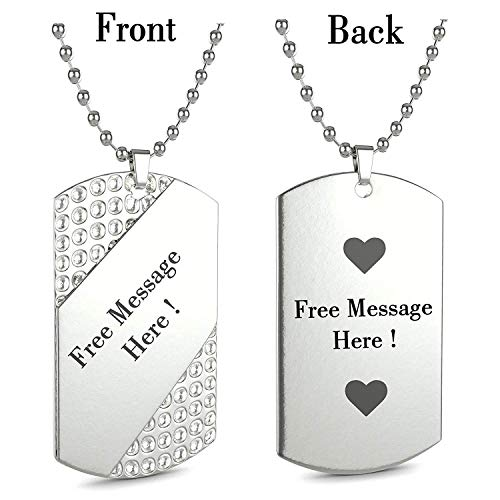 Personalized Slashed Cubic Stone Bling Rhinestone Style Custom Message Engraved Necklace Dog Tag Pendant with 24 inch Stainless Steel Chain,Velvet Giftpouch and Keyring Dog Tag Style Fan Tags