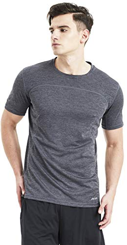 Akilex Mens Tight Sports Short Sleeve Comfortable Quick Dry Fitness Running Shirt Top (3011 Grey, L)