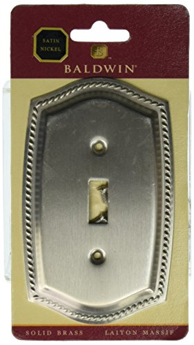 Baldwin 4788150 Single Toggle Rope Switch Plate, Satin Nickel (Switch Cd Plate Rope)