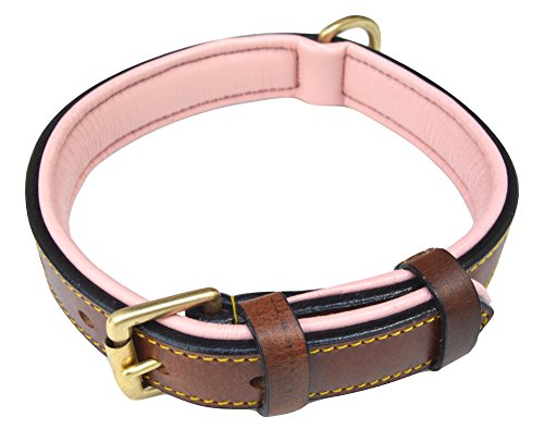 Soft Touch Collars Padded Leather Dog Collar, Brown with Light Pink Padding, Size Medium, Real Genuine ()