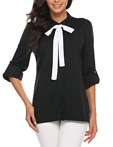 Zeagoo Women Elegant Peter Pan Collar Button Down Cotton Shirt Sleeve T-Shirts Black