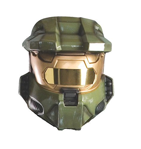 [Halo Master Chief Costume Vacuform Half-Mask, Green, One Size] (Master Chief Halo Costumes For Kids)
