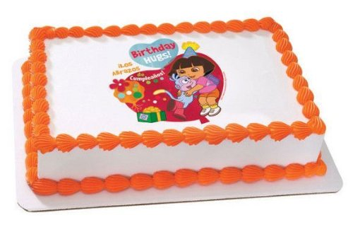 "3"" Round ~ Dora the Explorer Birthday Hugs ~ Edible Image Cake/Cupcake Topper!!! -  D735"