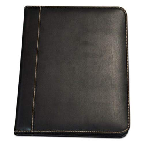 Samsill Contrast Stitch Leather Padfolio, 8 1/2 x 11, Leather, Black ()