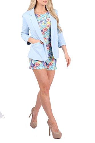 3 Bleue Blazer Mesdames courtes jusqu'avant Manteau manches Nouvelle femme pour Poudre Tour UK 8C16 4 extensible Femmes Collier Casual I1nwnUqR