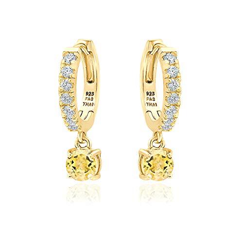 (Yellow Gold Flashed Sterling Silver 5mm Citrine & White CZ Dangle Huggie Hoop Earrings for Women Teen Girls, 15mm Diameter)