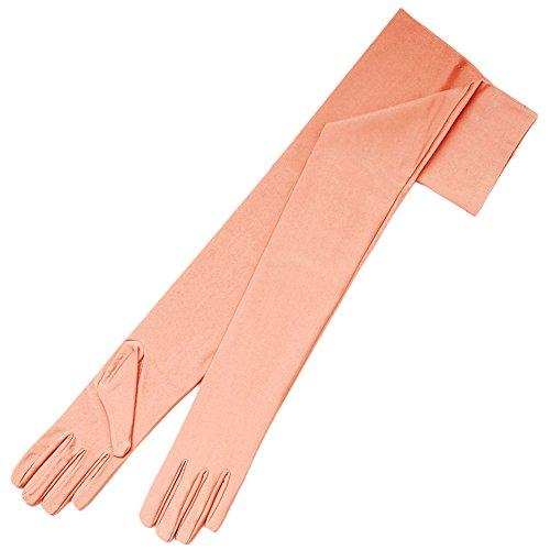 ZaZa Bridal 23.5'' Long 4-Way Stretch Matte Finish Satin Dress Gloves Opera Length 16BL-Peach by ZaZa Bridal