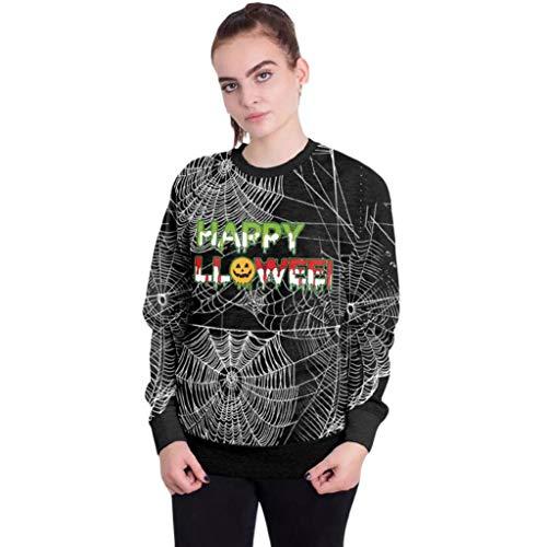 Yihaojia Women's Halloween Crewneck Sweatshirt 3D Print Party Spider Web Pullover Top Blouse (L, Black) -