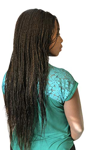 Authentic Braided Wigs for African American Women LightweightMicro Twist Braid, Lace Closure, Change Hair Styles & Enjoy A Natural Look Color 1/30 Mixed (22 inches)