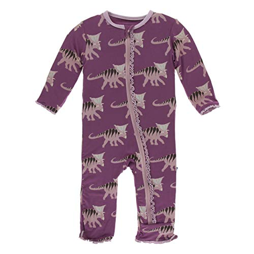 Kickee Pants Little Girls Print Muffin Ruffle Coverall with Zipper - Amethyst Kosmoceratops, 3-6 Months