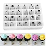 24 Pcs Stainless Star Swirl Icing Piping Nozzles Pastry Cake Tool for Decorating Cupcakes