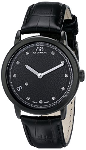 88 Rue du Rhone Women's 87WA120022 Double 8 Origin Analog Display Swiss Quartz Black Watch