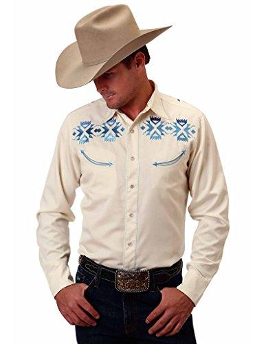 Roper Western Shirt Mens L/S Aztec XL White 03-001-0040-0219 (Aztec Mens Roper)
