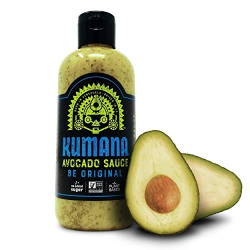 Kumana Avocado Hot Sauce, Original Jalapeño. A Savory Keto Friendly Hot Sauce made with Ripe Avocados and Chili Peppers. Ketogenic and Paleo. Sugar Free, Gluten Free and Low Carb. 13.1 Ounce Bottle.