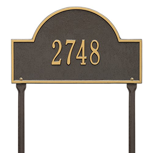 Whitehall Products Arch Marker Standard Green/Gold Lawn 1-Line Address Plaque (Arch Marker Whitehall Lawn)