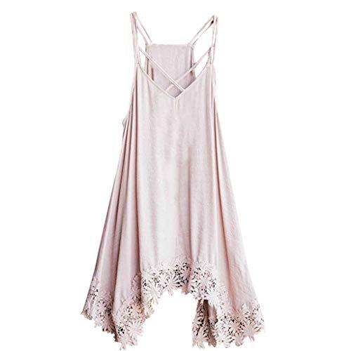- Sunhusing Ladies Summer Solid Color Sexy Off-Shoulder Sling Lace Trim Irregular Hem Dress Pink