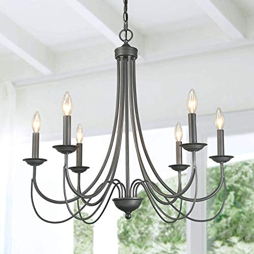 LOG BARN French Country Metal Chandelier Antique Brush Dark Silver Finish 27.6 Living Room Pendant Light Fixture, Medium Farmhouse, Kitchen Island Bedroom