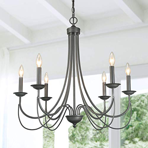 LOG BARN 6 Lights French Country Shabby Chic Metal Chandelier in Antique Brush Dark Silver Finish, 27.6