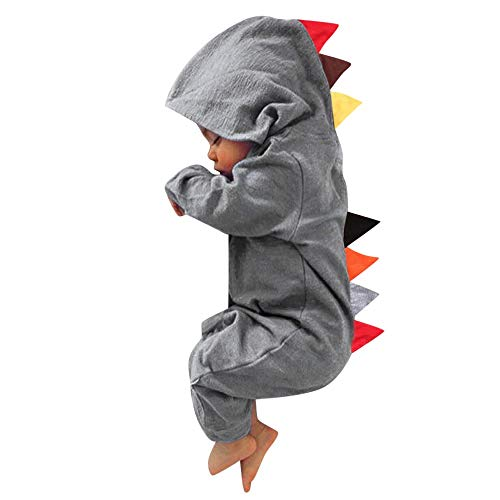 Fheaven 0-24 Months Newborn Baby Boys Girls Romper Dinosaur Hooded Romper Zipper Jumpsuit Outfits Clothes (6-12 Months, Gray) ()