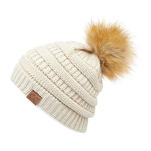 Hatsandscarf CC Exclusives Unisex Ombre Ribbed Confetti Knit Beanie with POM (HAT-43) (Beige)