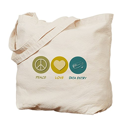 Cafepress–Peace Love dati entrata Tote bag–Borsa di tela naturale, tessuto in iuta