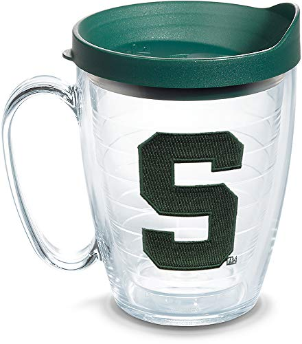 Tervis 1061208 Michigan State Spartans Block S Tumbler with Emblem and Hunter Green Lid 16oz Mug, Clear