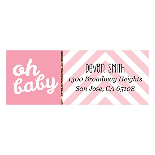 Baby Girl Return Address Labels - Custom Hello Little One - Pink and Gold - Personalized Girl Baby Shower Return Address Labels - Set of 30