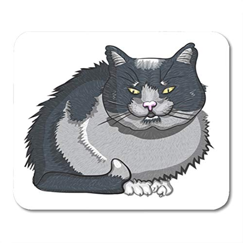 (Semtomn Gaming Mouse Pad Evil Black Cat White Adorable Animal Bad Carnivore Cartoon Character Clip 9.5